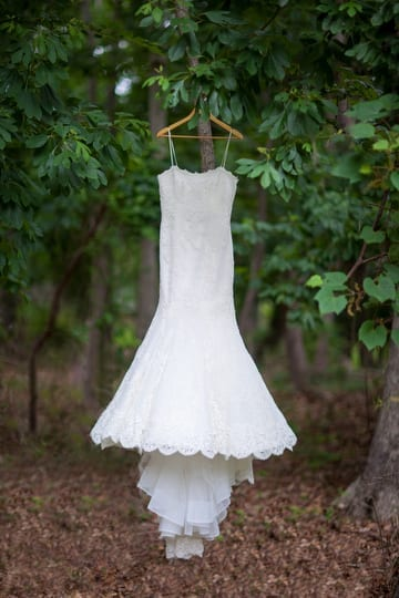 bride's dress in the woods