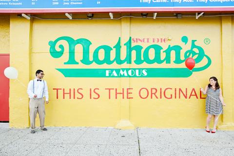Nathan's Hot Dog Engagement Photo