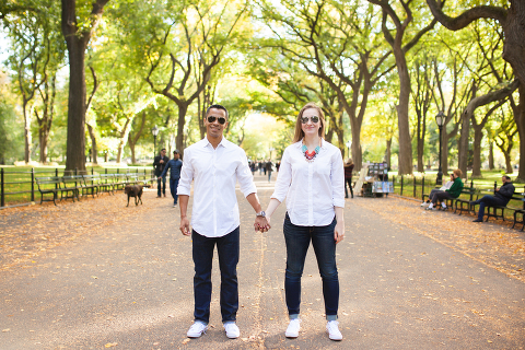 Central Park Mall Engagement Photo