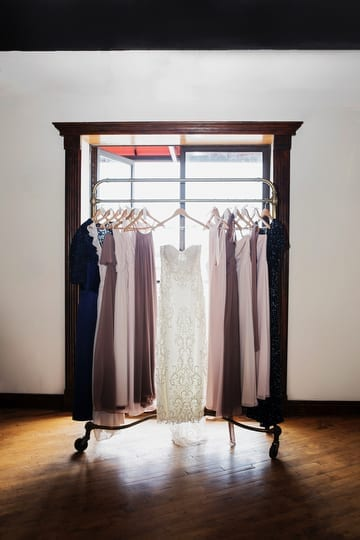 wedding gown and bridesmaid dresses