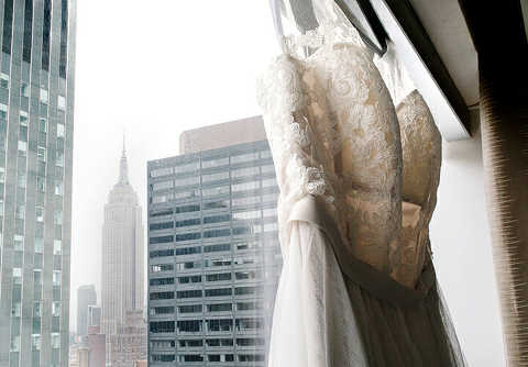 wedding dress and empire state building