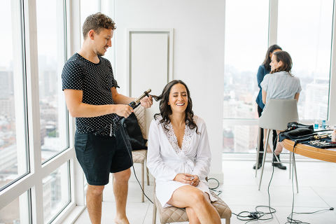 bride getting ready in nomo soho penthouse