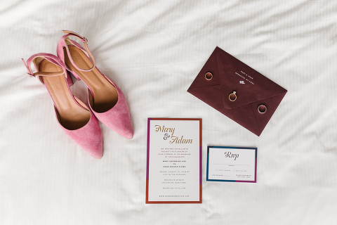 pink and merlot wedding details